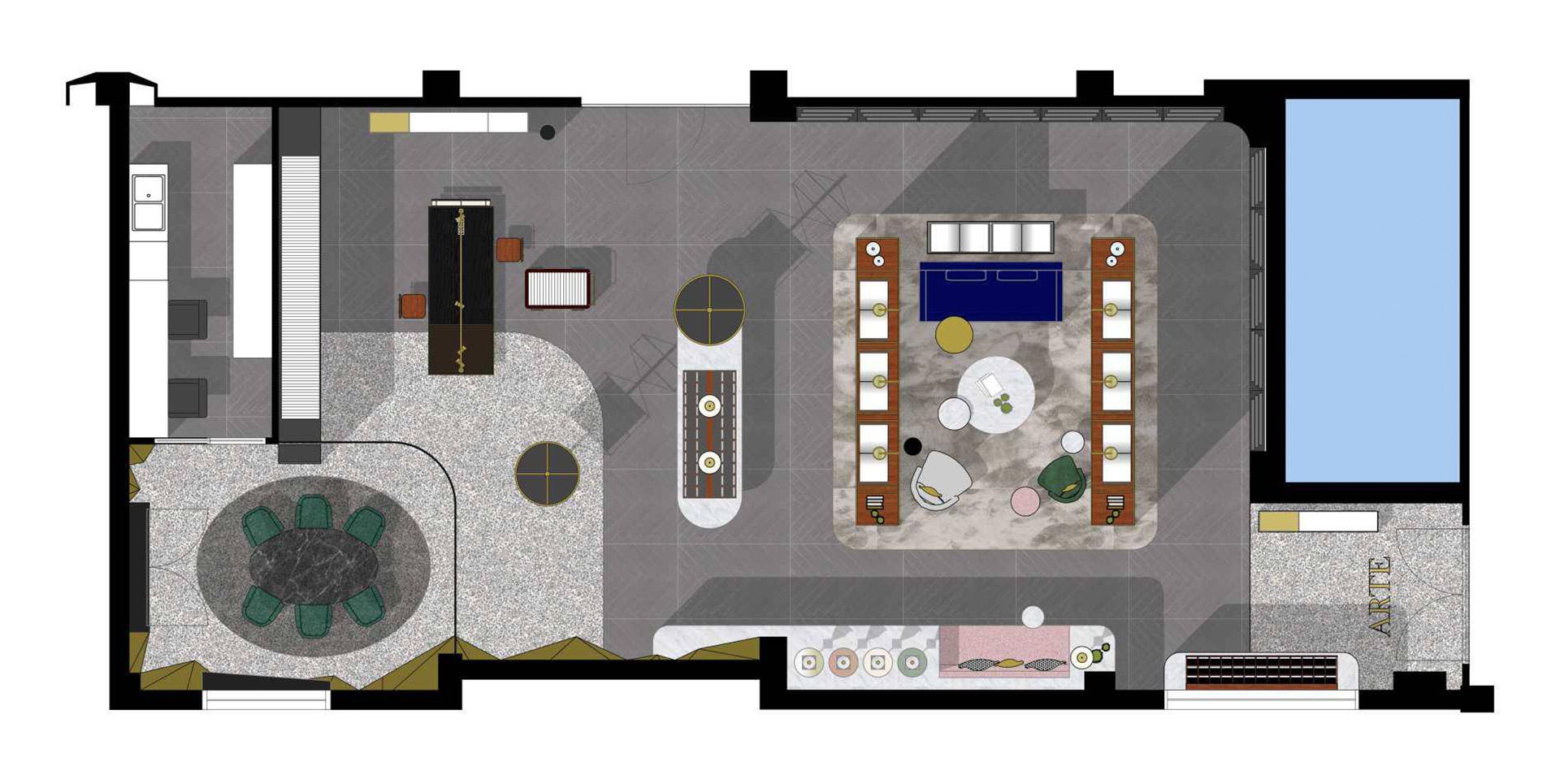 Creneau Interior Design Agency Dubai Middle East Arte Interior Coloured Plan
